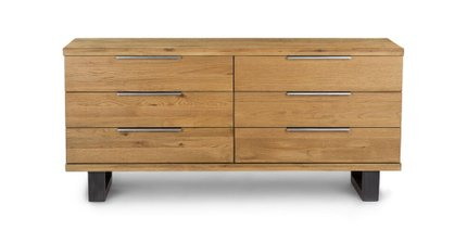 Taiga 6 Drawer Low Double Dresser Oak