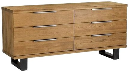 Article Taiga 6 Drawer Low Double Dresser Oak