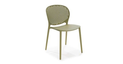 Dot Contemporary Outdoor Dining Chair Green (Set of 2)