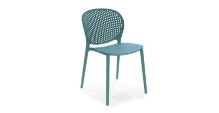 Dot Contemporary Outdoor Dining Chair Blue (Set of 2)