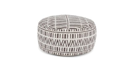 "Bamba 30"" Large Pouf White And Charcoal"