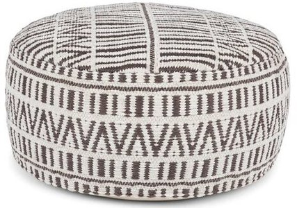 "Article Bamba 30"" Large Pouf White And Charcoal"