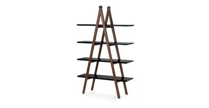 Caliper Mid Century Modern  Book Shelf Black And Walnut