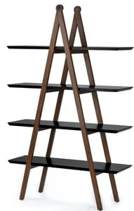 Article Caliper Mid Century Modern  Bookshelf Black And Walnut