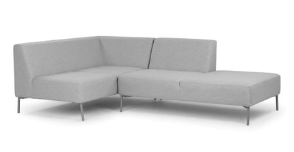 Tezra Contemporary Left Extended Sectional Outdoor Sofa Feather Gray