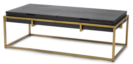 Oscuro Storage Coffee Table Black And Brass