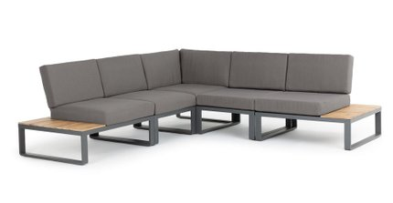 Kezia Contemporary Symmetrical Sectional Outdoor Sofa Barnes Gray