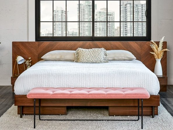 Article Nera Queen Bed With Nightstands Walnut