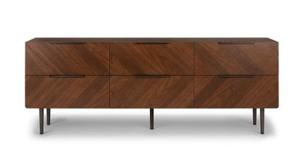 Article Nera 6 Drawer Low Double Dresser Walnut