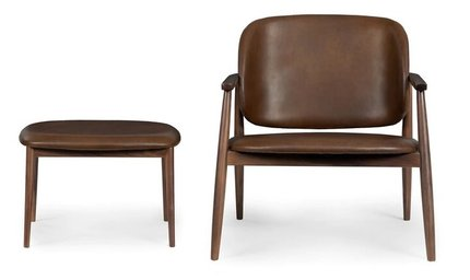 Levo Leather Lounge Set Brown And Walnut