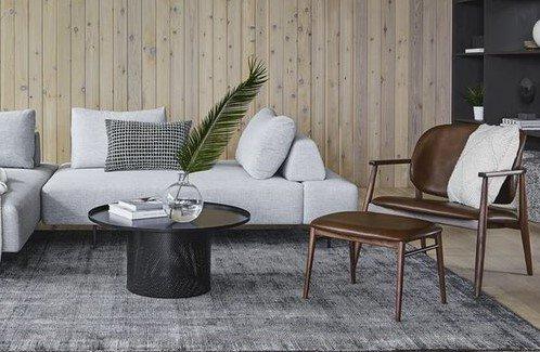 Levo Leather Lounge Set Brown And Walnut