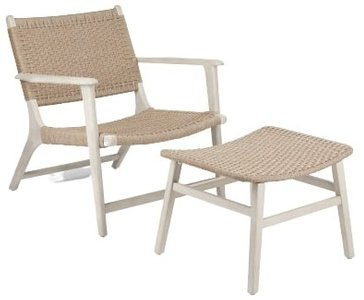 Article Reni Chair And Ottoman Set Brushed Taupe & Washed Oak