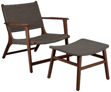 Article Reni Chair And Ottoman Set Freckle Gray & Walnut