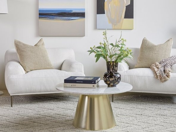 Article Tromso Coffee Table White & Brass