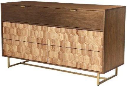 Article Geome 6 Drawer Double Dresser Walnut & Oak