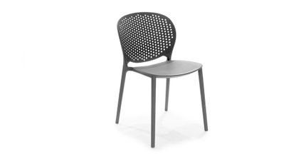 Dot Contemporary Outdoor Dining Chair Graphite (Set of 2)