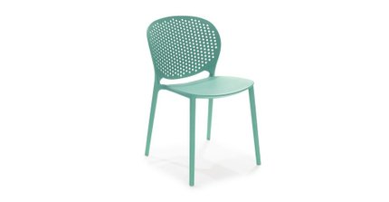Dot Contemporary Outdoor Dining Chair Aqua (Set of 2)