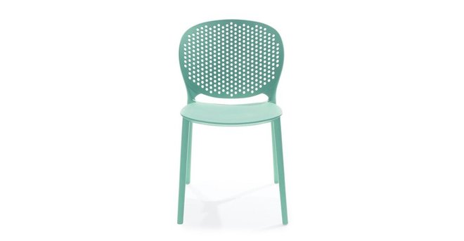 Dot Contemporary Outdoor Dining Chair Aqua (Set of 2)