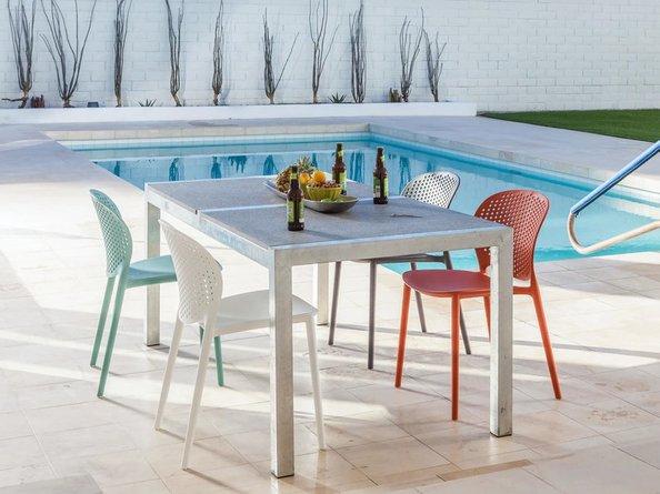 Dot Contemporary Outdoor Dining Chair Malibu Aqua (Set of 2)