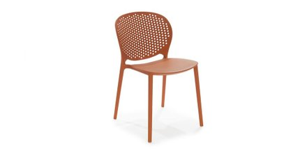 Dot Contemporary Outdoor Dining Chair Orange (Set of 2)