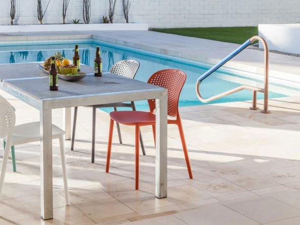 Article Dot Contemporary Outdoor Dining Chair Orange (Set of 2)
