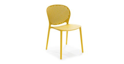 Dot Contemporary Outdoor Dining Chair Yellow (Set of 2)