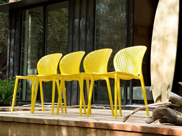 Article Dot Contemporary Outdoor Dining Chair Yellow (Set of 2)