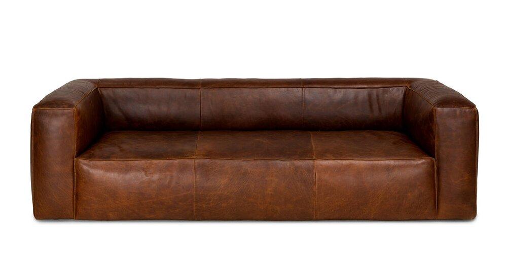 Cigar Contemporary Leather Sofa Brown in LA : Sofas | BureauOne