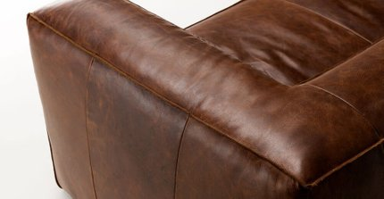 Cigar Contemporary Leather Sofa Brown
