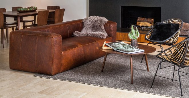 Article Cigar Contemporary Leather Sofa Rawhide Brown