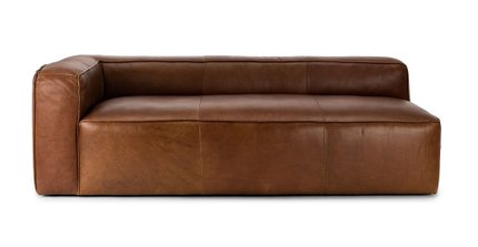 Mello Contemporary Leather Sofa Taos Brown