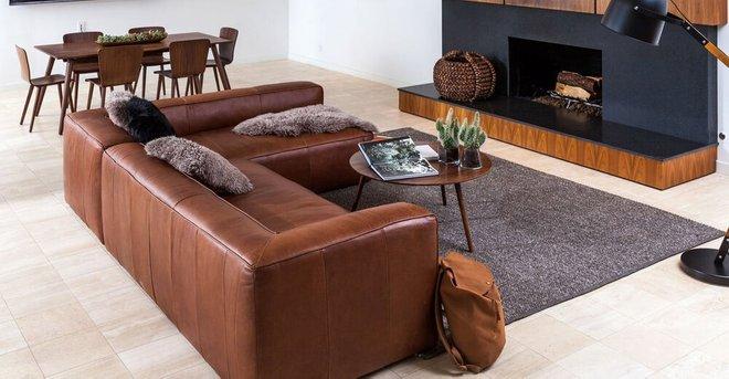 Rent Mello Contemporary Leather Sofa Taos Brown