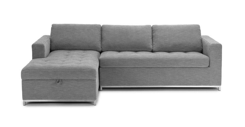Soma Mid Century Modern Fabric Left Sleeper Sectional Sofa Gray