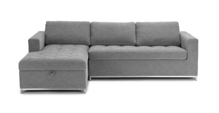 Article Soma Mid-Century Modern Left Sectional Sleeper Sofa Gray