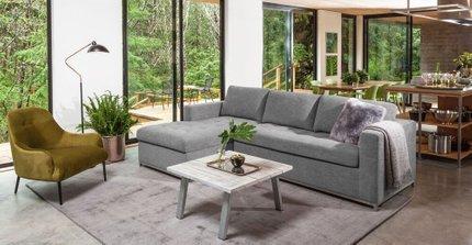 Soma Mid-Century Modern Fabric Left Sleeper Sectional Sofa Gray