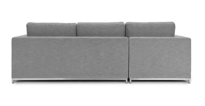 Soma Mid-Century Modern Fabric Left Sleeper Sectional Sofa Gray