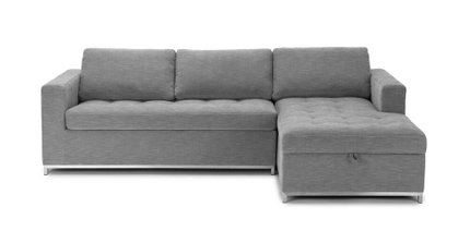 Soma Mid-Century Modern Fabric Right Sleeper Sectional Gray
