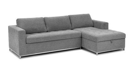 Soma Mid-Century Modern Fabric Right Sleeper Sectional Gray