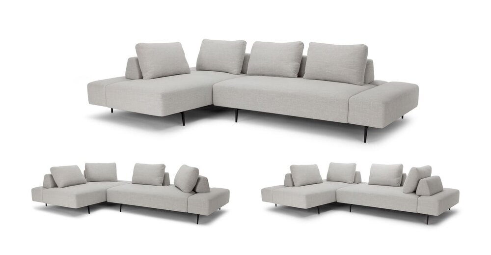 Amazing Divan Modern Contemporary Sectional Sofa Gray In Sf Ncnpc Chair Design For Home Ncnpcorg