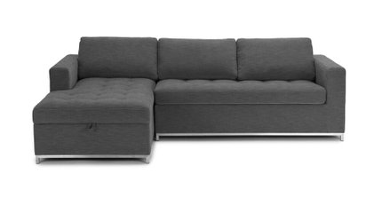 Soma Mid-Century Modern Fabric Left Sleeper Sectional Twilight Gray