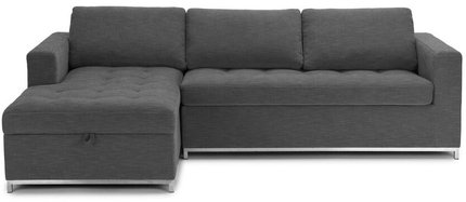 Article Soma Mid-Century Modern Left Sectional Sleeper Sofa Twilight Gray