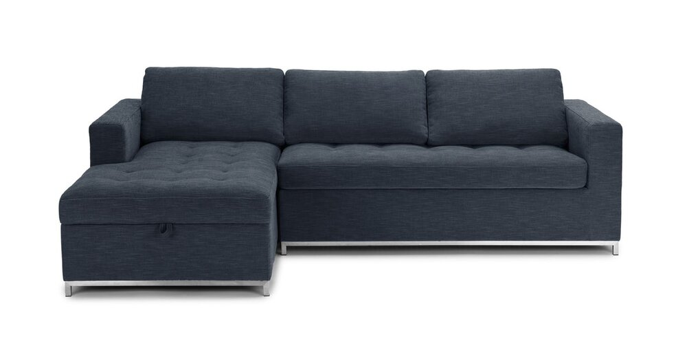 Soma Mid Century Modern Fabric Left Sleeper Sectional Blue