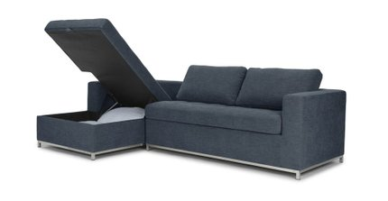 Soma Mid-Century Modern Fabric Left Sleeper Sectional Blue