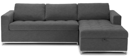 Article Soma Mid-Century Modern Right Sectional Sleeper Sofa Twilight Gray