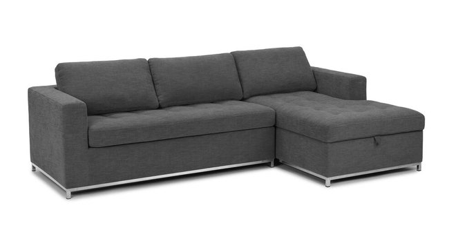 Soma Mid-Century Modern Fabric Right Sleeper Sectional Twilight Gray