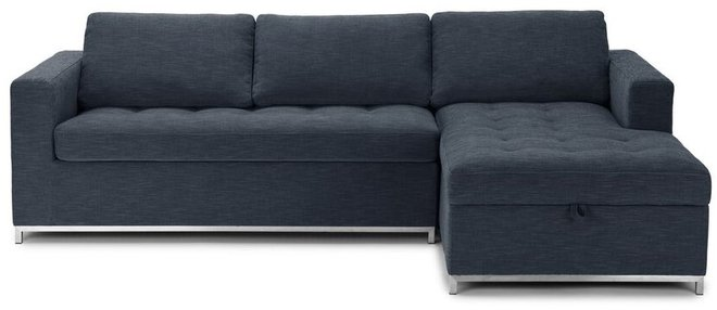 Article Soma Mid-Century Modern Right Sectional Sleeper Sofa Blue