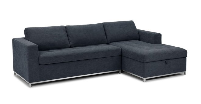 Soma Mid-Century Modern Fabric Right Sleeper Sectional  Blue