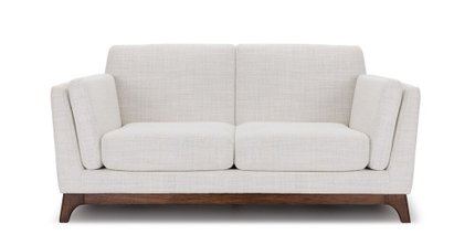 Ceni Mid-Century Modern Fabric Loveseat Fresh White
