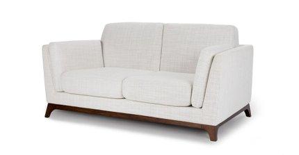 Ceni Mid-Century Modern Fabric Loveseat Fresh White
