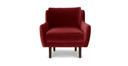 Matrix Modern Contemporary Velvet Chair Claret Red